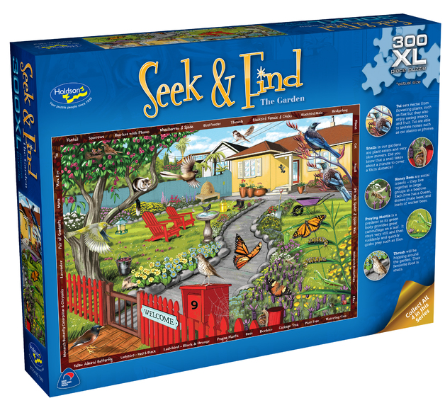 Holdson XL: 300 Piece Puzzle - Seek & Find (The Garden)