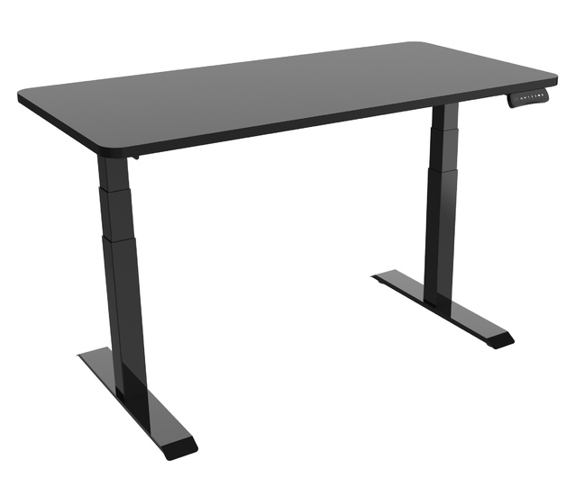 Gorilla Office: 3-Stage Motorised Height Adjustable Desk - Black/Black (1800 x 800mm)