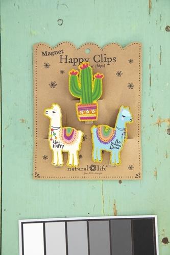 Natural Life: Magnet Chip Clip - Cactus Llama (Set of 3)