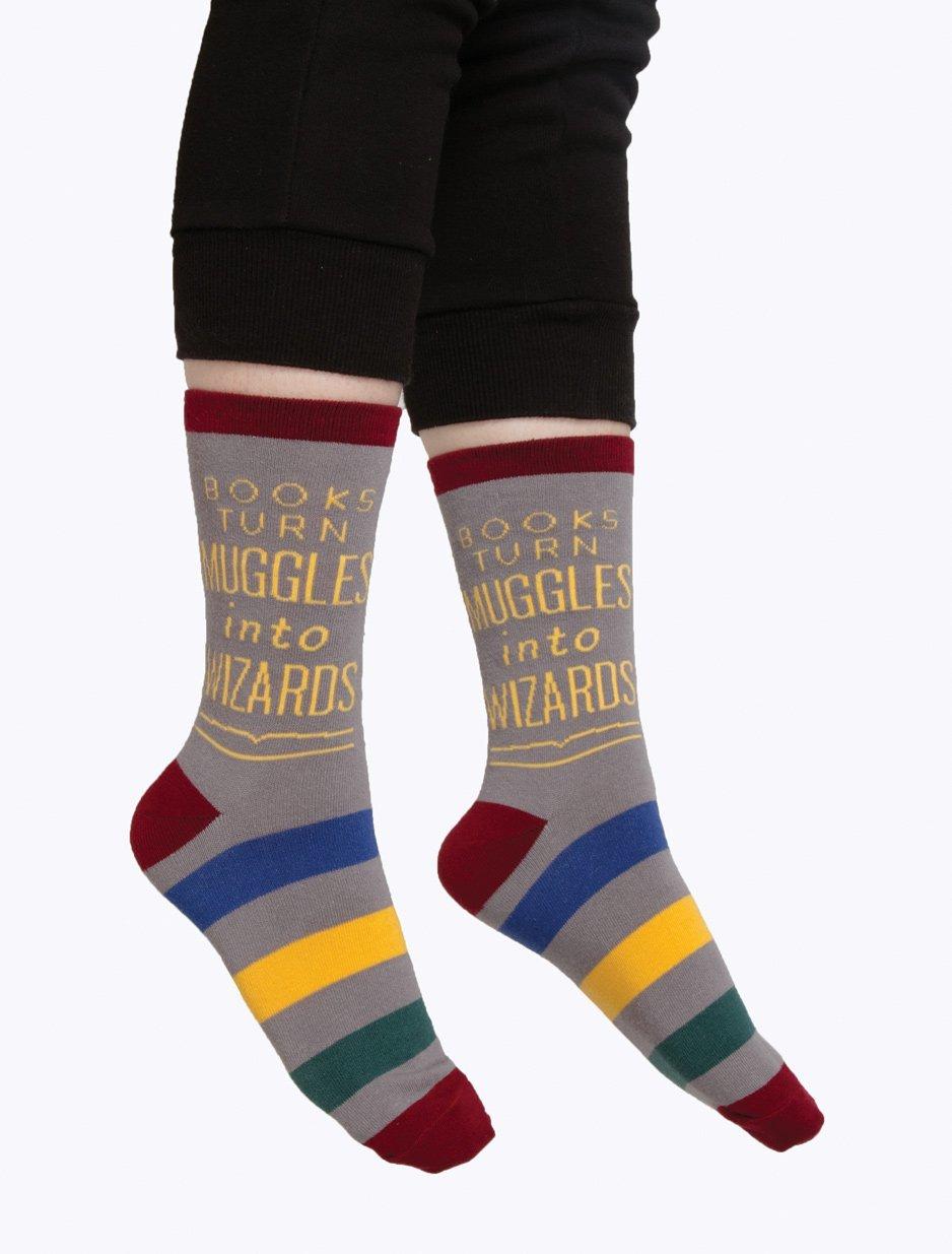 Out of Print: Books Turn Muggles - Men's Crew Socks image