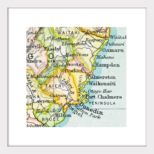 Dunedin Map New Zealand.Dunedin Vintage Map Print Framed At Mighty Ape Nz