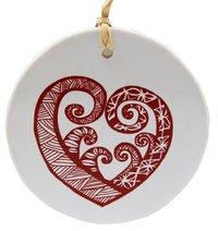 Pacific Aroha Ceramic Decoration (Red on White)