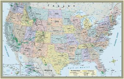 U.S. Map-Laminated by BarCharts Inc