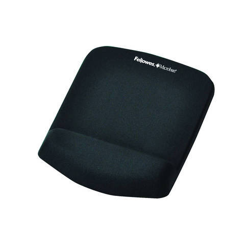 Fellowes Mouse Pad & Wrist Rest - Plush Touch - Lycra - Black