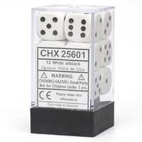 Chessex: D6 Opaque Cube Set (16mm) - White/Black image