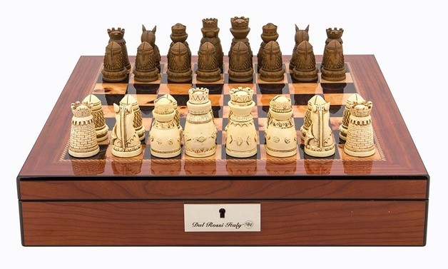 "Dal Rossi: Medieval - 16"" Resin Chess Set (Walnut Finish)"