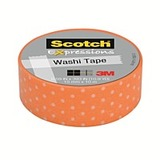 Scotch Washi Craft Tape Orange Swiss Dot 15mm x 10m