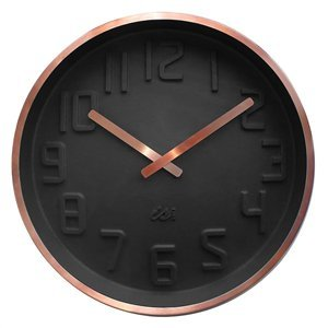 Deluxe Copper Rim Curve Clock - Charcoal