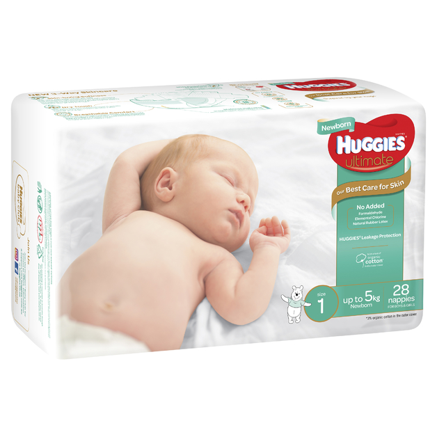 Huggies Ultimate Nappies - Size 1 Newborn (28)