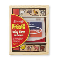 Melissa & Doug: Wooden Baby Farm Animal Stamp Set