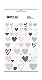 Rosie's Studio: Embellishments - Puffy Heart Stickers (Neutrals)