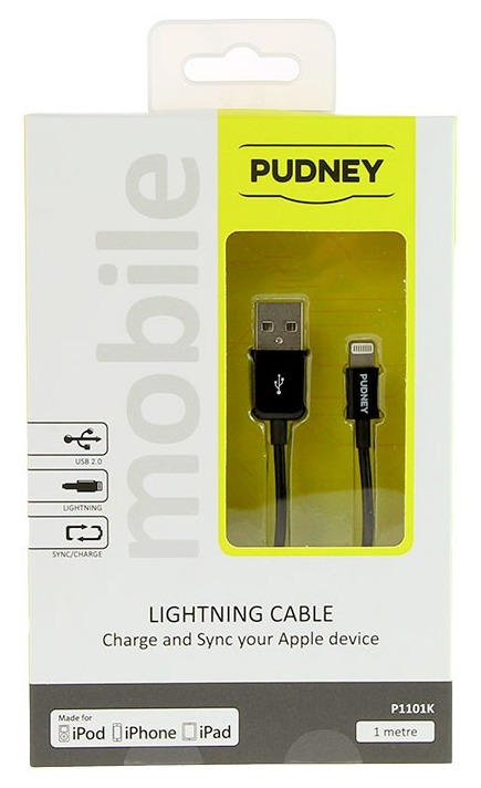 Pudney: USB A Plug To Lightning Plug 1 Metre - Black