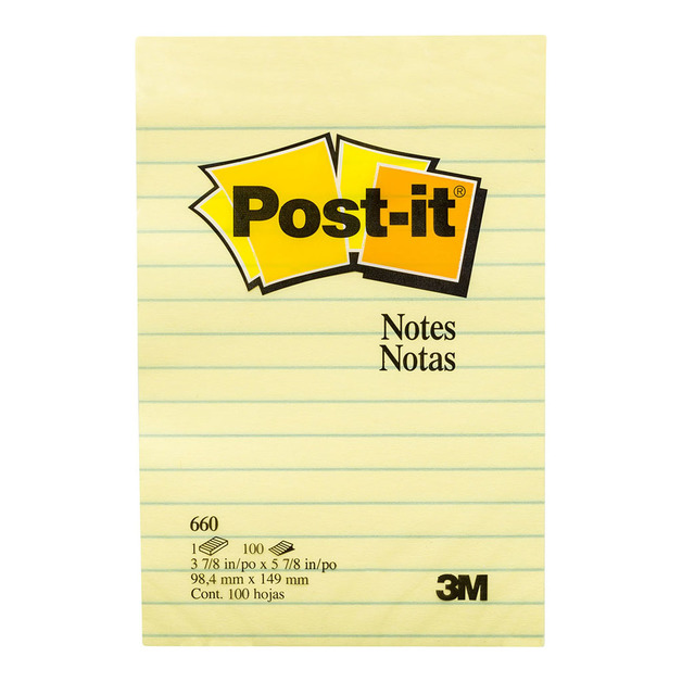 Post-it: Notes Yellow 660 Lined - 100 sheet pad