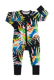 Bonds Zip Wondersuit Long Sleeve - Confetti Palm Black (0-3 Months)