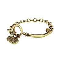 Disney Alice In Wonderland - Curved Key Bracelet - Yellow Gold