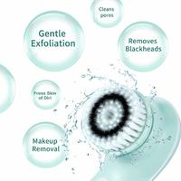 Rechargeable Rotating Waterproof Cleansing Facial Brush Set - Blue