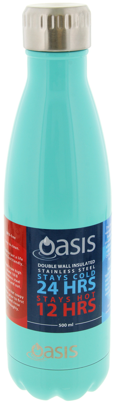 Oasis: Insulated Stainless Steel Drink Bottle - Spearmint (500ml) image