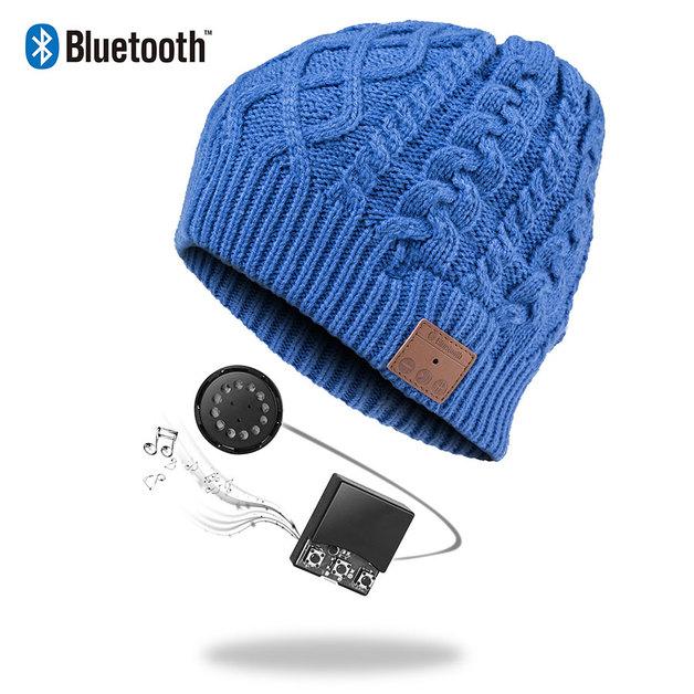 Ape Basics: Wireless Bluetooth Music Beanie Hat- Blue