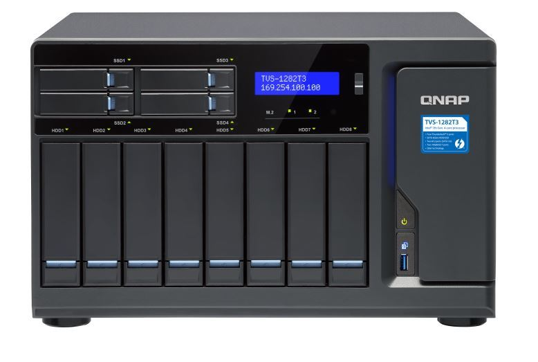 QNAP TVS-1282T3-i7-64G NAS,8+4+2xM.2 SLOT(NO DISK),64GB,I7-7700,THUNDERBOLT3,GbE(4),TWR,2Y image