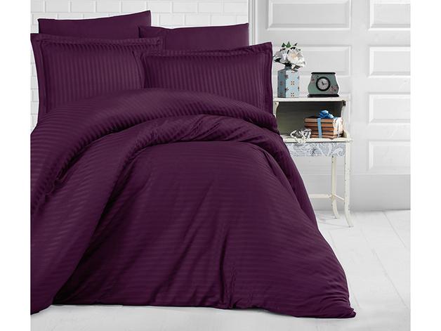 King Size Stripe Satin Duvet Cover Set - Purple