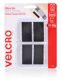 VELCRO Brand Hook & Loop Stick on Hook & Loop Fasteners Strips 25x50mm Black Pkt6 image