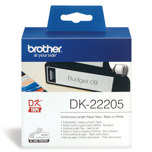 Brother DK-22205 Continuous Paper Label Roll - Black on White (62mm x 30.48m)
