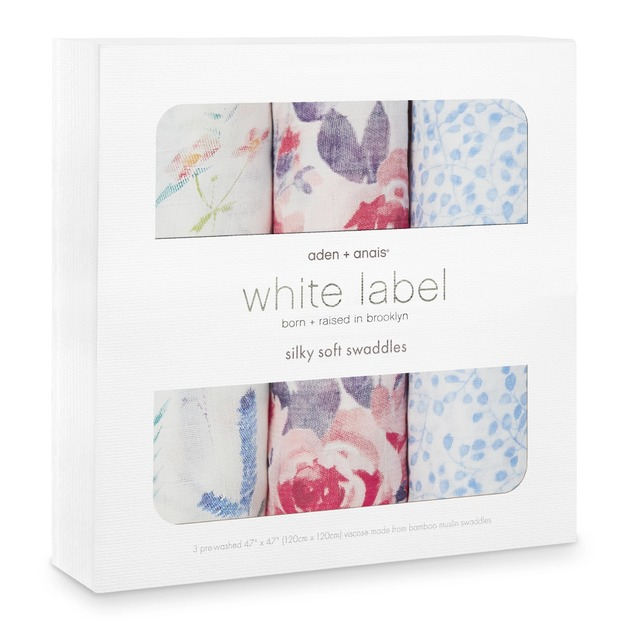 Aden + Anais: White Label Silky Soft Bamboo Muslin Swaddles - Watercolour Garden (3pk)