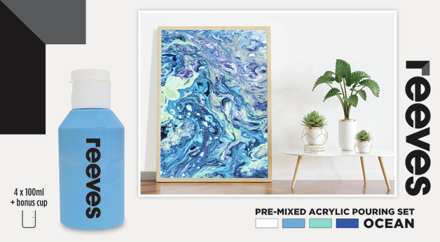 Reeves: Pre-Mixed Acrylic Pour Paint - Ocean (Set 4/100ml)