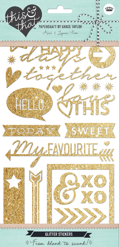 This and That Stickers Icons & Words Gold Glitter