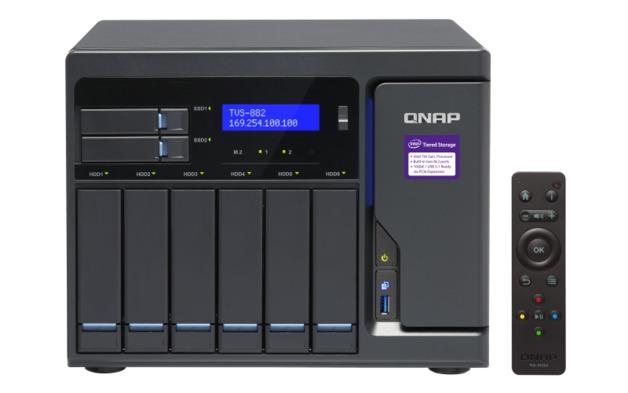 QNAP TVS-882-I3-8G NAS,6+2+2 X M.2 SLOT(DISKLESS),8GB,I3-6100,USB,GbE(4),HDMI,TWR, 2YR