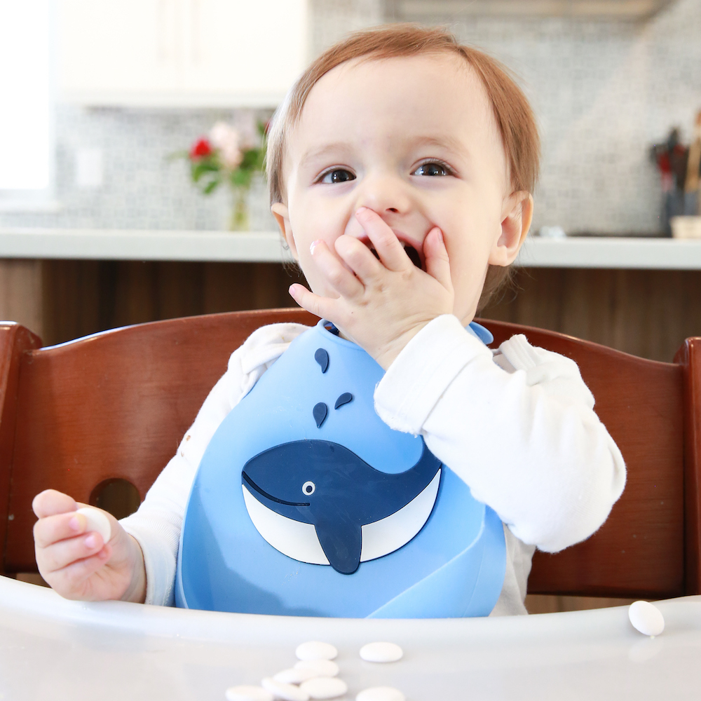 Make My Day: Silicon Baby Bib - Whale Blue image