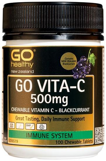 Go Healthy: GO VITA-C 500mg - Blackcurrant (100 Chew Tablets)