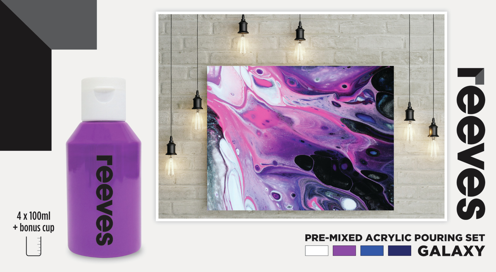 Reeves: Pre-Mixed Acrylic Pour Paint - Galaxy (Set 4 /100ml) image