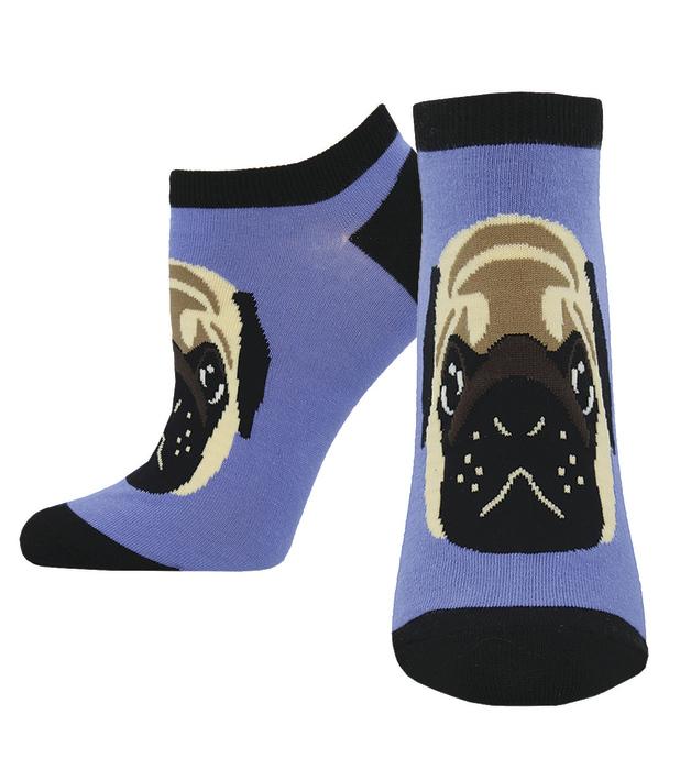 Socksmith: Women's Pug Lyfe Ankle Socks - Periwinkle