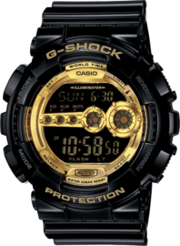 Casio G-Shock Digital Mens Black X Gold Series Watch GD100GB-1 GD-100GB-1DR image