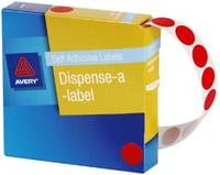 Avery Red 14mm Diameter Circle Dispenser Labels Pkt1050