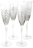 Silver Dotted Champagne Flute - Set of 4 (185ml)