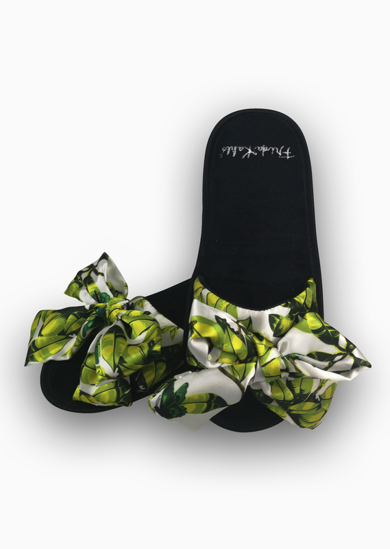 Frida Kahlo: Slide Slippers With Satin Bows - Bonito (UK 5-7)