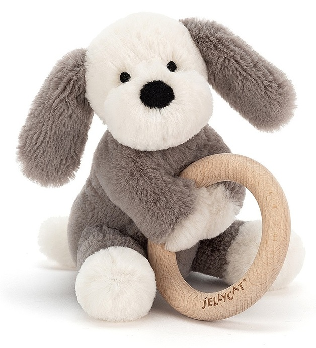 Jellycat: Shooshu Puppy - Plush & Wooden Ring