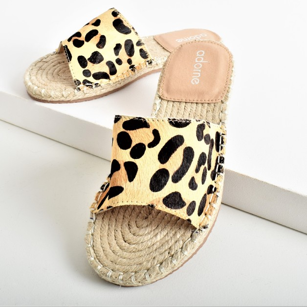 Adorne: Sienna Hide Espadrille Slide Leopard - 40