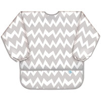 Bumkins: Waterproof Sleeved Bib - Grey Chevron
