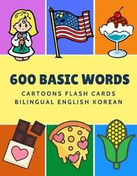 600 Basic Words Cartoons Flash Cards Bilingual English Korean by Kinder Language