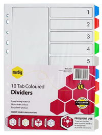 Marbig A4 Board 10 Tab Reinforced Dividers - Coloured