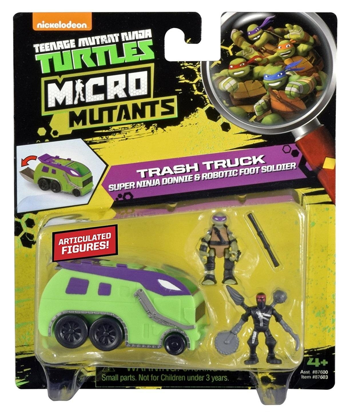 "Teenage Mutant Ninja Turtles Micro Mutant Garbage Truck with 1.15/"" Super Ninj..."