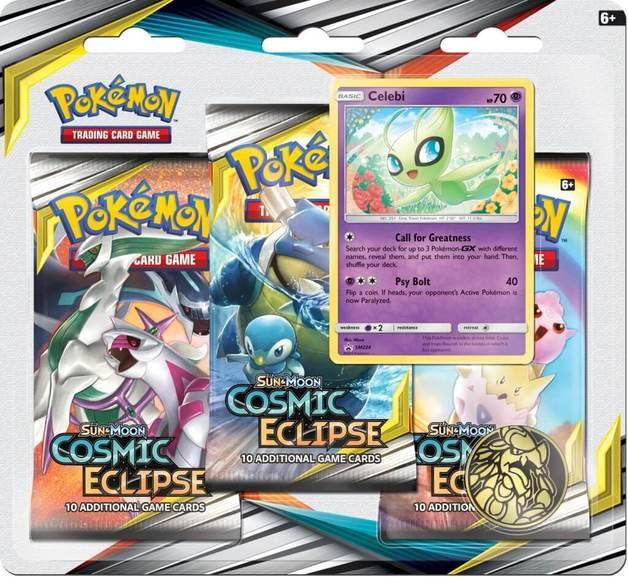 Pokemon TCG: Cosmic Eclipse Three Booster Blister- Celebi