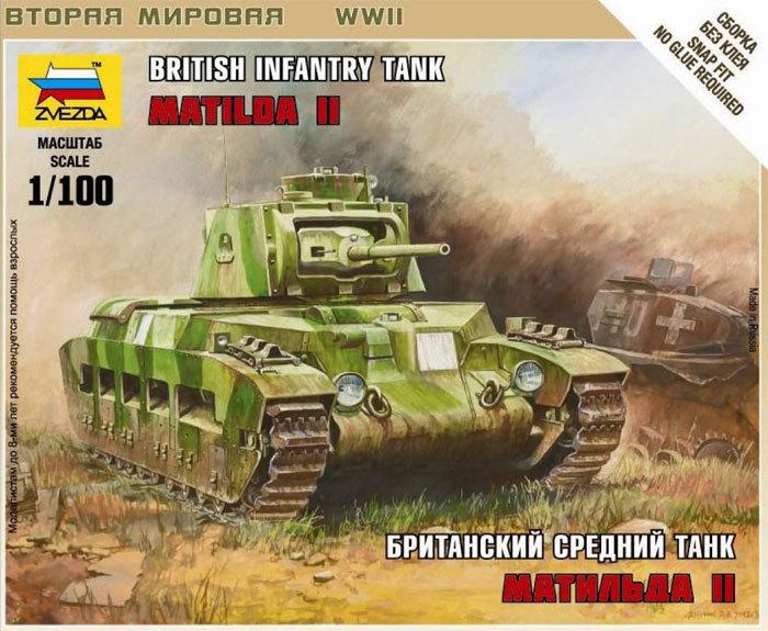 Zvezda 1/100 British Matilda II Infantry Tank image