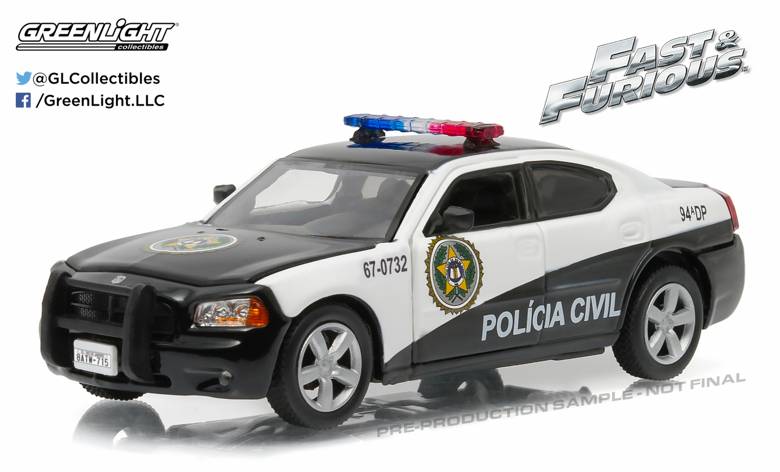 1/43: Dodge Charger - Rio Police - Diecast Model image
