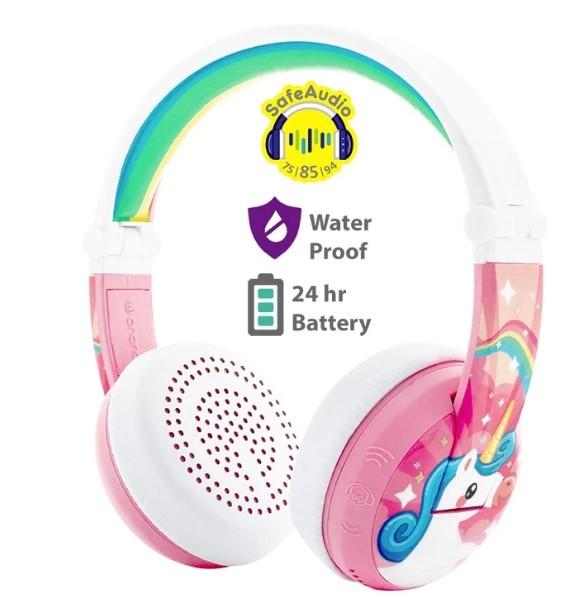 BuddyPhones: Wave Waterproof Wireless Bluetooth Volume-Limiting Kids Headphones - Unicorn Pink