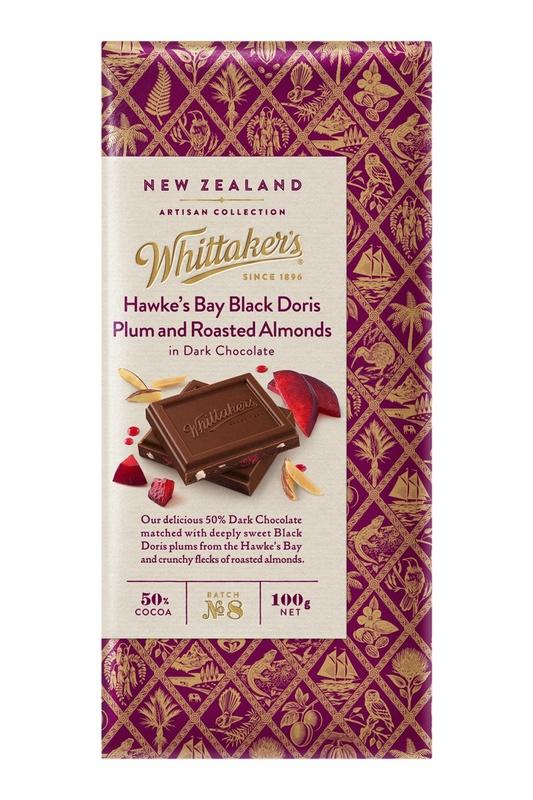 Whittakers Artisan Collection: Block Hawkes Bay Black Doris Plum & Roasted Almonds in Dark Chocolate 100g
