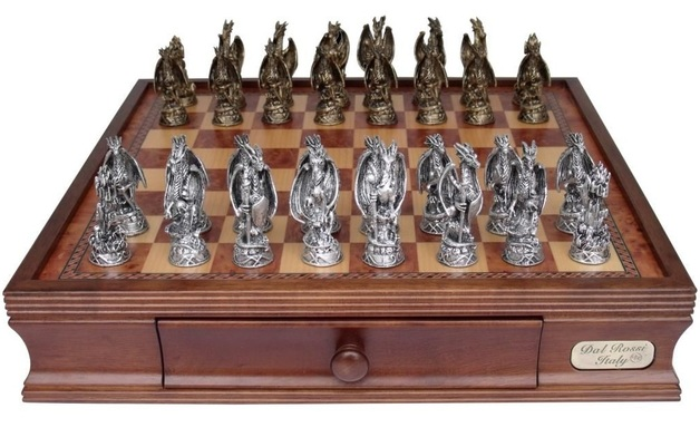 "Dal Rossi: Mystical Dragons - 16"" Pewter Chess Set"